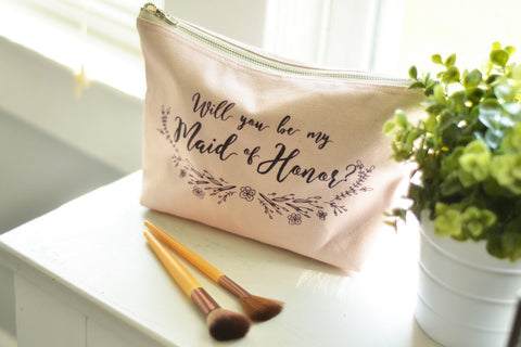 Will You Be My Maid of Honor Make Up Bag Blush (Large)