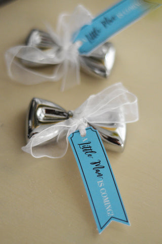 "Baby Boy Bridal Shower Favor Bow Tie Bottle Opener with ""A Little Man is coming"" Personalized Tag (Silver / Chrome)"
