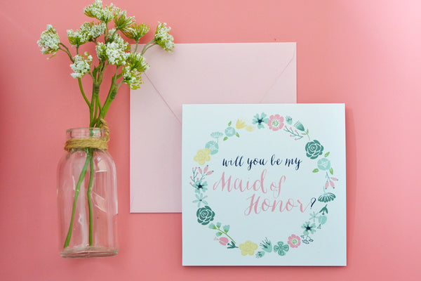 Maid of Honor, MOH, Floral Will You Be my Maid-of-Honor Card, Mint, Blush and Navy