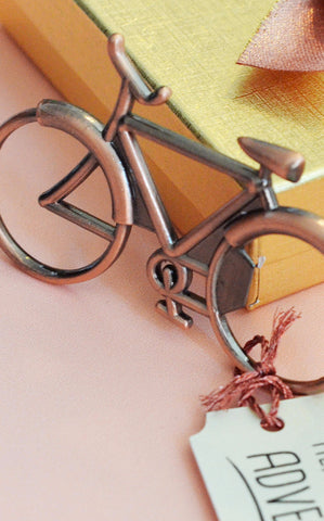 Copper Anniversary Bicycle Bottle Opener Gift - Here's to a lifetime of adventures together