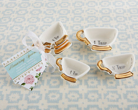 Bridal Shower Favor Tea Time Teapot Ceramic Measuring Spoons with Personalized Tag
