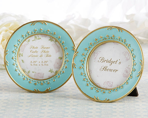 Tea Time Vintage-inspired Round Plate-Shape Frame Placecard Holder for Weddings and Bridal Showers in Teal and Gold