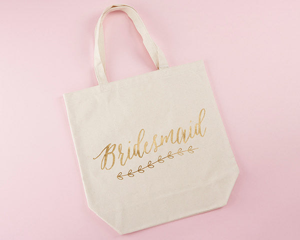 Bridesmaid Natural Canvas Tote with Gold Foil, Bridesmaids Gift Bag
