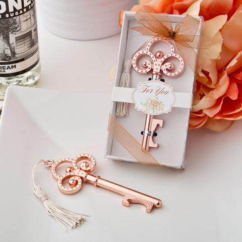 Rose Gold Skeleton Key Bottle Opener Wedding Favor