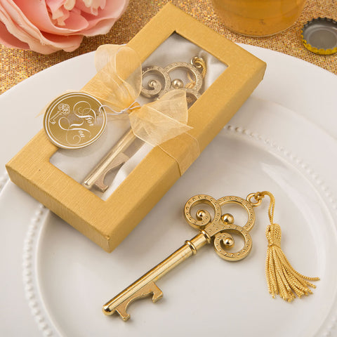 Gold Skeleton Key Bottle Opener Wedding Favor