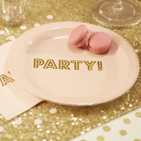 "Blush and Gold ""Party"" Birthday Party (Set of 8)"