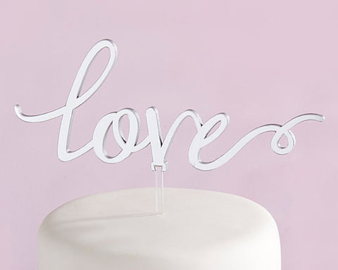 Wedding Cake Topper Love in Silver Mirror