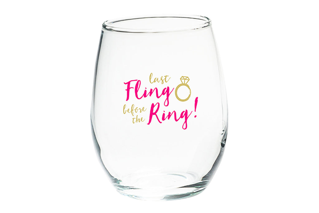 Last Fling Before The Ring Stemless Wine Glass Wedding Favor Or Gift