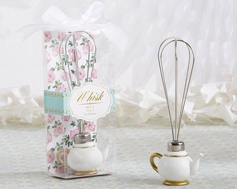 Bridal Shower Favor Tea Time Teapot Whisk in White and Gold