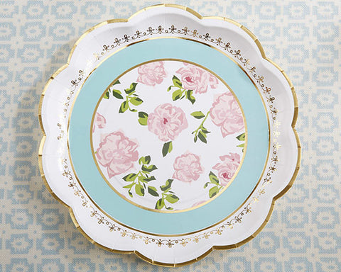 Bridal Shower Paper Plate in Teal and Gold, Vintage Floral Design, Tea Time Collection (Set of 8)