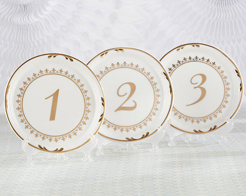 Ceramic Plate Table Numbers, White and Gold, Set includes Numbers 1 - 6