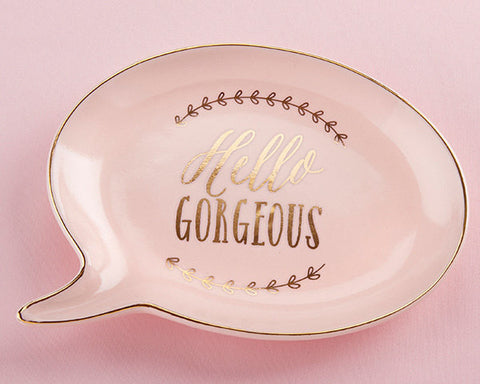 Hello Gorgeous Trinket Dish, Blush and Gold, Speech Bubble Shape, Bridesmaids Gift, Maid of Honor Gift, Flower Girl Gift, Bride Gift