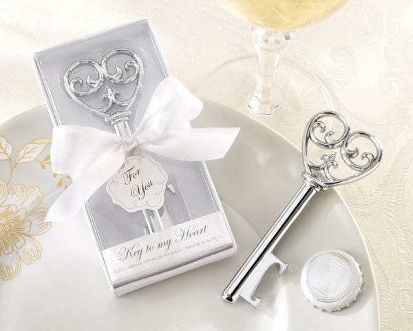 Classic Silver Chrome Key Bottle Opener Wedding Favor with Elegant Gift Box