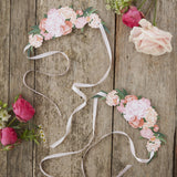Paper Floral Tiara Vintage Photo Prop with Blush Ribbon