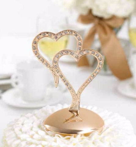 Rose Gold Sparkling Hearts Cake Topper