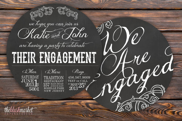 Vintage Chalkboard Engagement Invitation, Round 5x5, Navy Blue and Blush, Chalkboard or Custom Color
