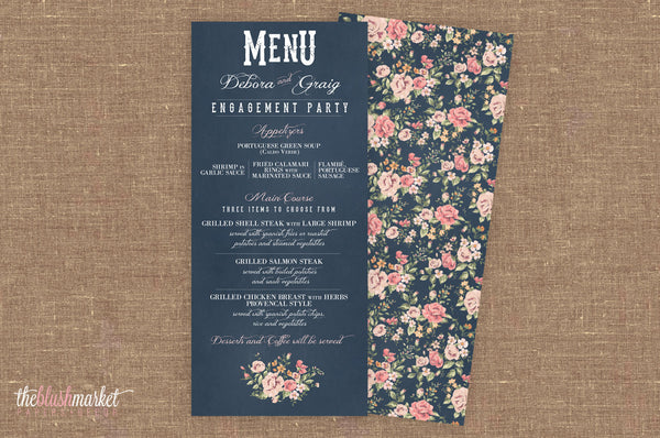 Vintage Chalkboard Wedding, Engagement Menu, Square 9.25x4, Rounded Corners, Navy Blue and Blush with Vintage Flowers Motive