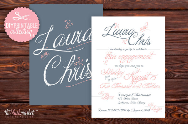 DIY, Printable Vintage Engagement Announcement or Party, 5x7