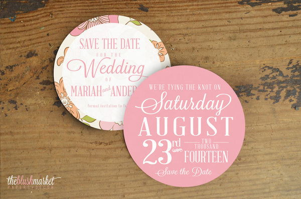 Save the Date Vintage Floral - Die-Cut, Round 5x5 card, Blush (Set of 25)