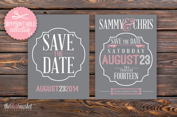 DIY, Save the Date Printable Vintage, 5x7