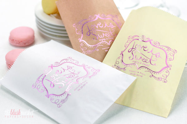 Vintage Love is Sweet Treat Bags - Blush Foil Stamp