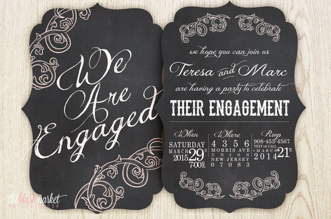 Ornate Vintage Chalkboard Engagement Invitation, Chalkboard and Blush