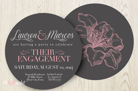Round Vintage Flower Engagement Invitation with Printed Envelopes, Chalkboard and Blush