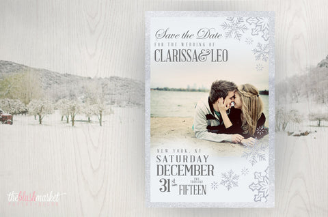 Save the Date Magnet - Sparkly Winter & Snowflakes with Printed Envelopes