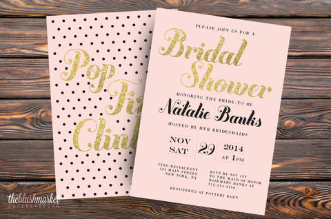 Bridal Shower Pop Fizz Clink - Blush, Glitter Gold and Black Polka Dot