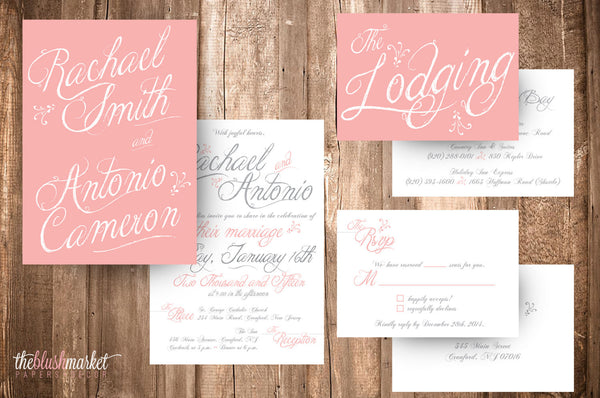 DIY Printable Wedding Vintage Rose - Wedding Invitation, RSVP and Accommodations Cards