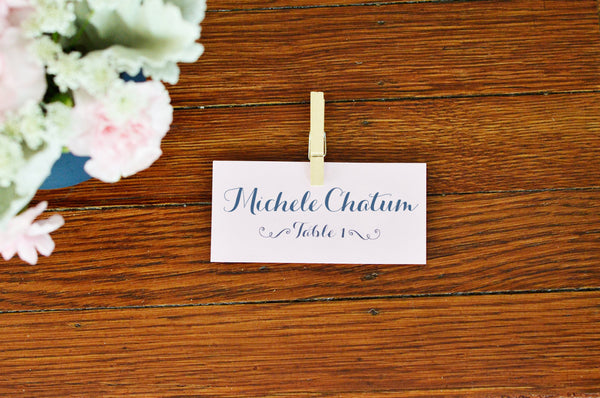 Rustic Wedding Placecard with Mini Clothespin