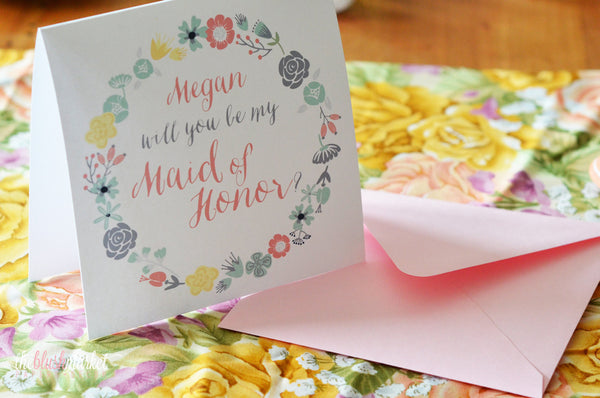Personalized Maid of Honor Card