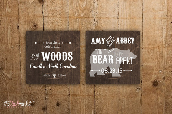 Cant Bear to Be Apart - Save the Date Coaster
