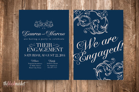 We are Engaged Metallic Invitation