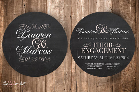 Script Chalkboard Engagement Invitation, Round 5x5