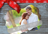 Ornate Silver Shimmer Holiday Card - Engagement