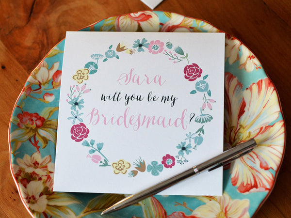Personalized Bridesmaid Card with Printed Envelope