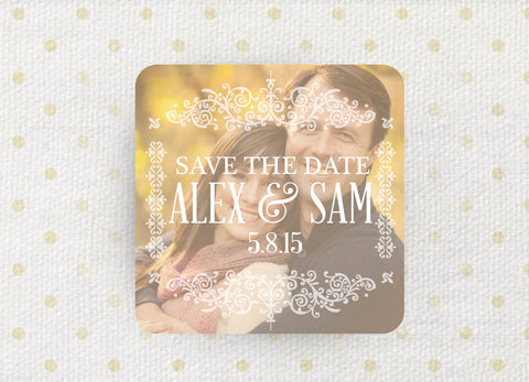 3x3 Save the Date Magnet with White envelopes - Ornate Romantic Frame