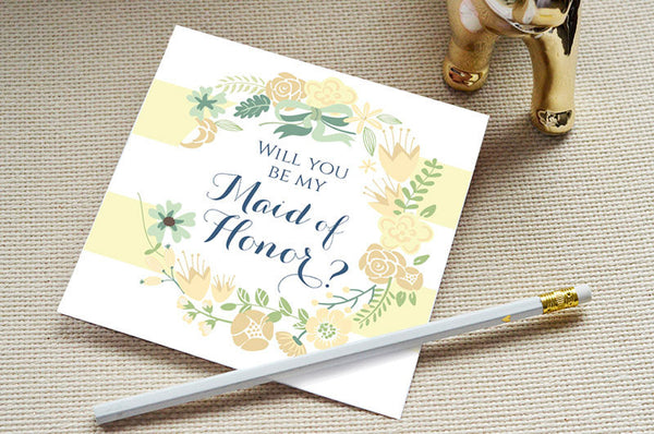 Will You Be my Maid of Honor - Spring Flowers