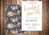 Bridal Shower - Floral Vintage Gold Glitter