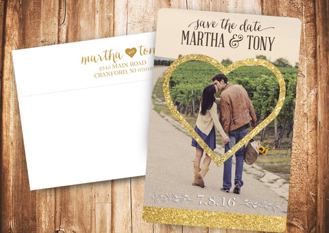 Save the Date Gold Heart (Printed Envelopes Included)
