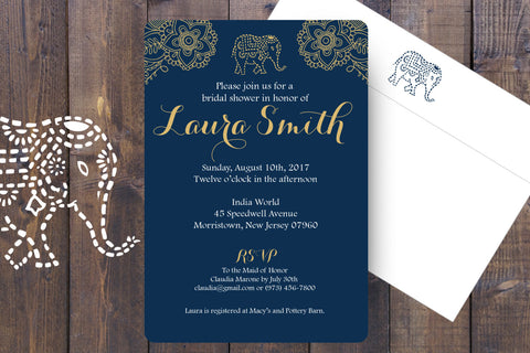 Indian Mehndi Elephant Bridal Shower Invitation, Indian Inspired Bridal Invite with printed envelopes