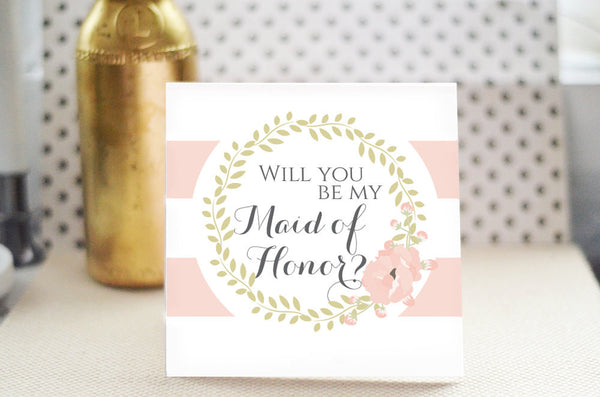 Will You Be my Maid of Honor Card - Romantic Blush