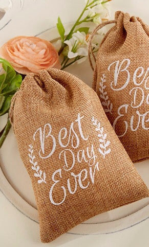 Best Day Ever Burlap Wedding Favor Bags (Package of 12)
