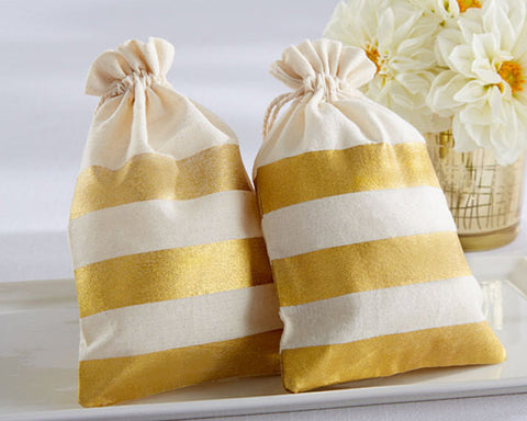 Antique Gold Stripe Muslin Favor Bag (Package of 12)