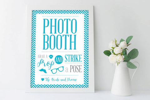 Chevron Photo Booth Sign, Grab a prop and Strike a Pose, Printable