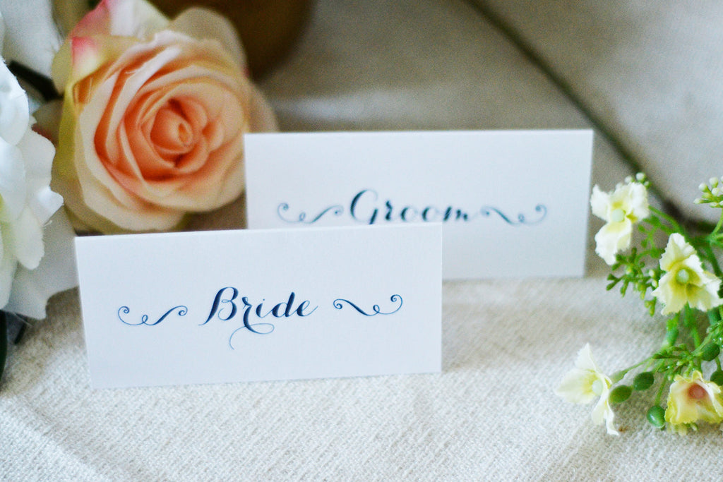 Elegant Bride And Groom Place Cards Name Tags Wedding Table Tents - Wedding table tents