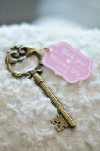 Key Bottle Opener Favor with Personalized Ornate Tag (Antique Gold)