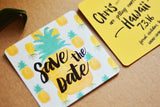 Pineapple Save the Date Wedding Coaster | Hawaiian Tropical Save the Date Coaster
