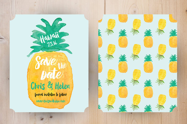 Save the Date Wedding Pineapple Tropical | Save the Date Wedding Watercolor Hawaiian